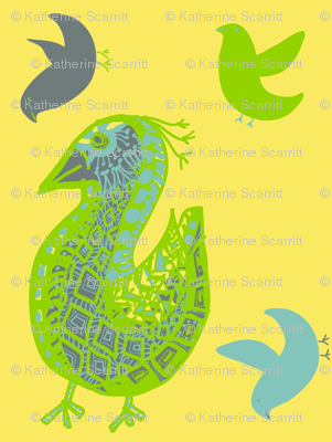 Pattern Bird gray on yellow with friends