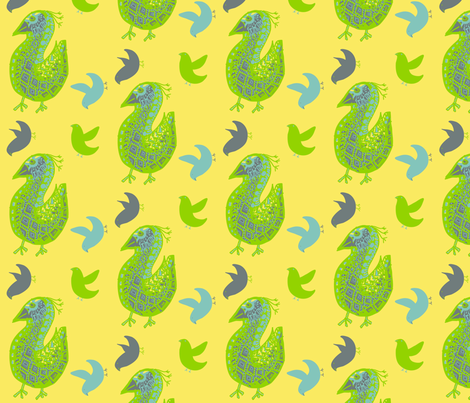 Pattern Bird gray on yellow with friends fabric by kcs on Spoonflower - custom fabric