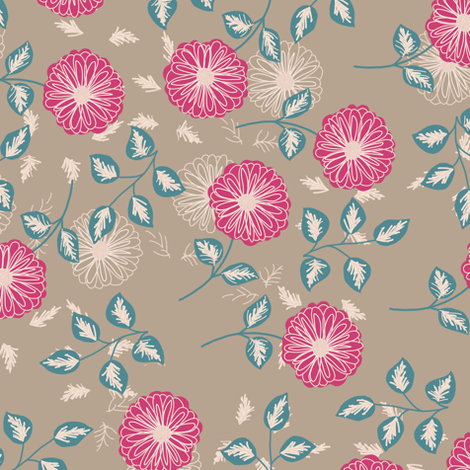 Flora (brown) fabric by biancagreen on Spoonflower - custom fabric