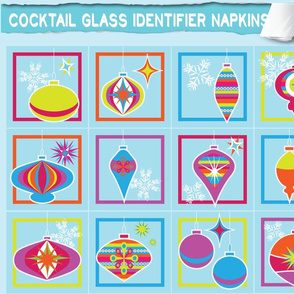Cocktail glass identifier napkins