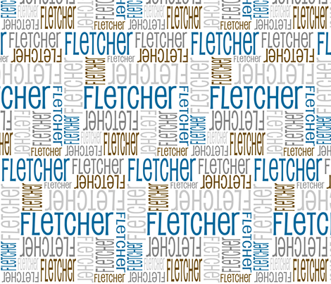 Personalised Name Fabric - Blue Greys Brown fabric by shelleymade on Spoonflower - custom fabric