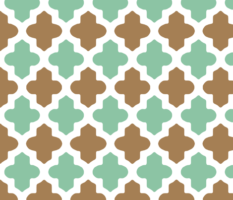 Moroccan Qutrefoil in Mint and Brown fabric by fridabarlow on Spoonflower - custom fabric