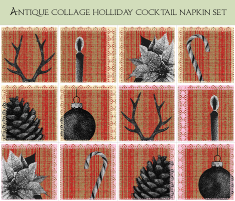 Antique collage holliday cocktail napkin set fabric by fantazya on Spoonflower - custom fabric