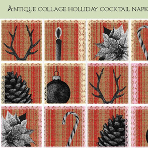 Antique collage holliday cocktail napkin set