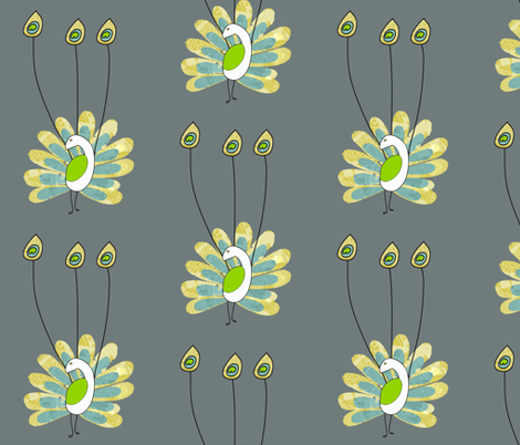 Peacock_Three_Feathers fabric by littleredcatdesign on Spoonflower - custom fabric