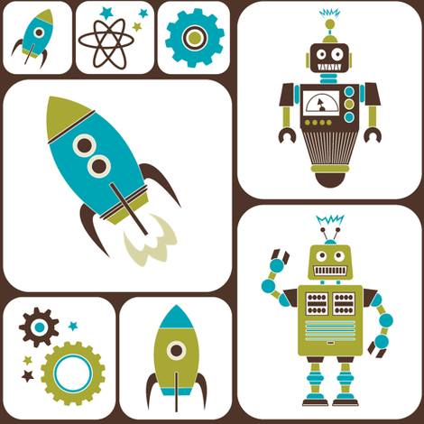 Robots and Rockets fabric by eleasha on Spoonflower - custom fabric
