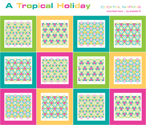 A Tropical Holiday - cocktail napkins fabric by inscribed_here on Spoonflower - custom fabric
