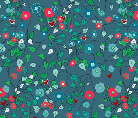"""Spring Flowers with a difference"" fabric by rcm-designs on Spoonflower - custom fabric"