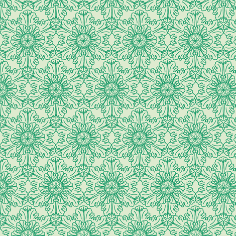 Snowflake in Green Mint fabric by horn&ivory on Spoonflower - custom fabric