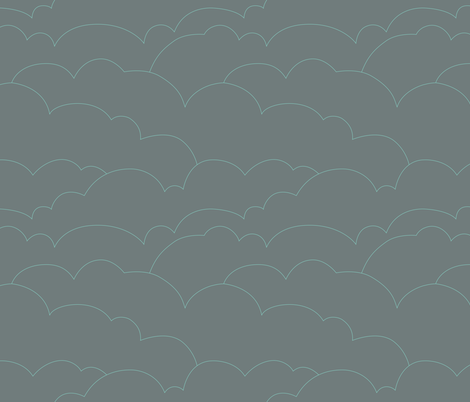 skyline clouds - gray fabric by ravynka on Spoonflower - custom fabric