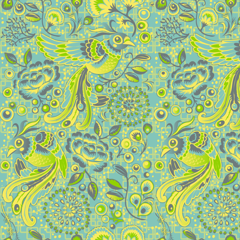 Flight of the Peacock - blue version fabric by irrimiri on Spoonflower - custom fabric