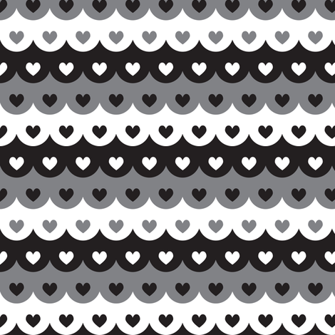 Hearts scallops (dark) fabric by petitspixels on Spoonflower - custom fabric