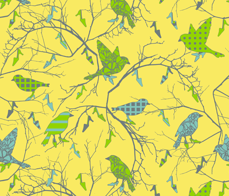birds in a shoe tree fabric by golders on Spoonflower - custom fabric