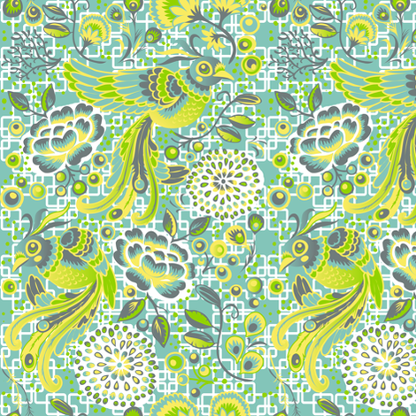 Flight of the Peacock - blue/white version fabric by irrimiri on Spoonflower - custom fabric