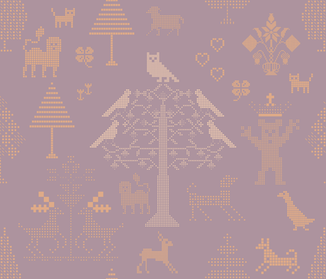 Violet Cross Stitch Pattern fabric by chickoteria on Spoonflower - custom fabric