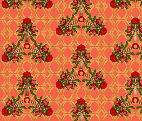 Formal waratahs fabric by su_g on Spoonflower - custom fabric