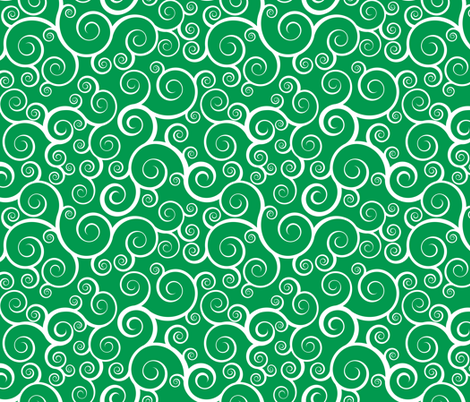 Fancy Swirls - Christmas Green fabric by shelleymade on Spoonflower - custom fabric