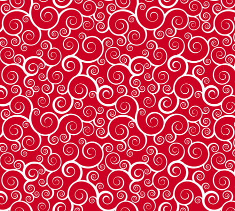 Fancy Swirls - Christmas Red fabric by shelleymade on Spoonflower - custom fabric