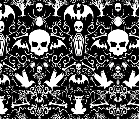 313 Gothic Black fabric by ~lilibat~ on Spoonflower - custom fabric