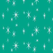 Holiday Starburst white on Turquoise