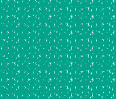 Holiday Starburst white on Turquoise fabric by sophista-tiki_by_dawn_frasier on Spoonflower - custom fabric