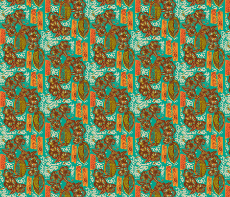 Honiara hibiscus in papaya seed fabric by sophista-tiki_by_dawn_frasier on Spoonflower - custom fabric
