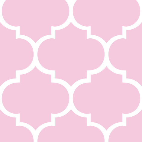 Fancy Lattice Pink with White Outline fabric by karmie on Spoonflower - custom fabric