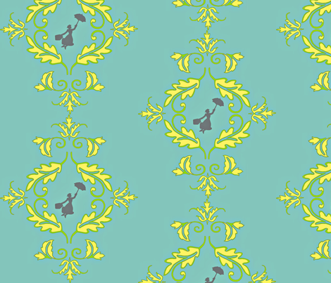Flight of the Poppins Damask fabric by kfrogb on Spoonflower - custom fabric