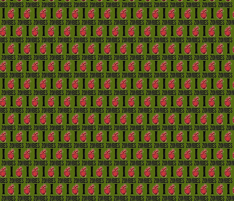 I love zombies-green fabric by motleycruiser on Spoonflower - custom fabric