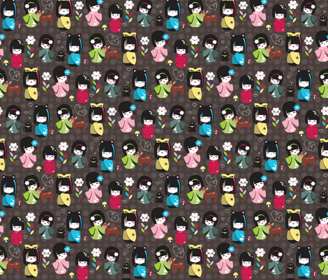 Kokeshi Dolls fabric by tradewind_creative on Spoonflower - custom fabric