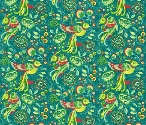 Flight of the Peacock  - teal fabric by irrimiri on Spoonflower - custom fabric