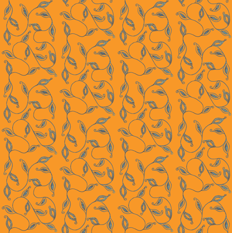 fancy_leaves-or fabric by kerryn on Spoonflower - custom fabric