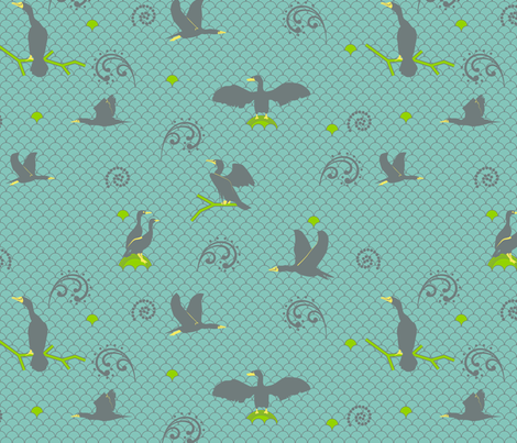 Cormorants fabric by alexsan on Spoonflower - custom fabric