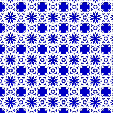 Lacy_Daisy_-crayon_blue fabric by fireflower on Spoonflower - custom fabric