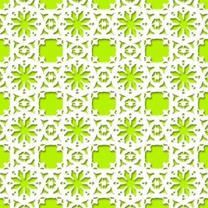 Lacy Daisy   -white on lime green
