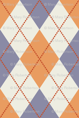 Cream, Dark Yellow, Purple Argyle