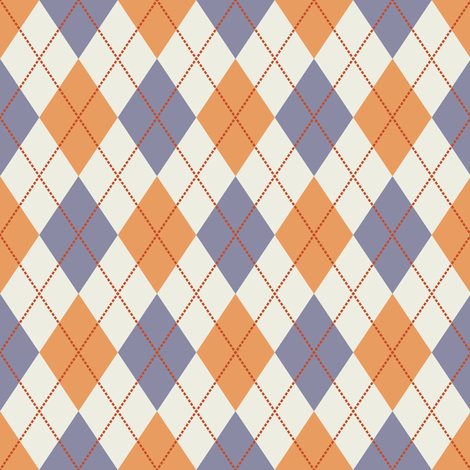 Cream, Dark Yellow, Purple Argyle fabric by jumeaux on Spoonflower - custom fabric
