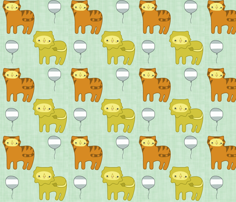 Lions & Tigers on Aqua fabric by rileyconstruction on Spoonflower - custom fabric