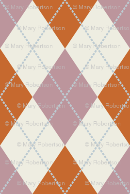 Mauve, Rust, and Cream Argyle