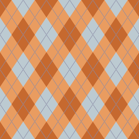 Rust and Light Blue Argyle