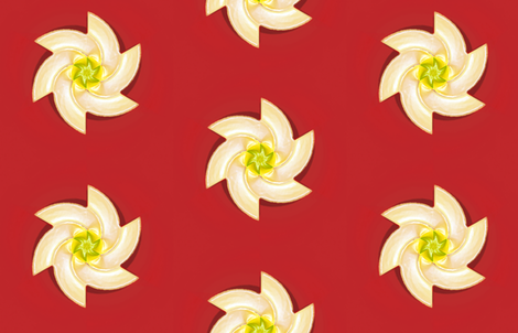 White Flower on Red fabric by fireflower on Spoonflower - custom fabric