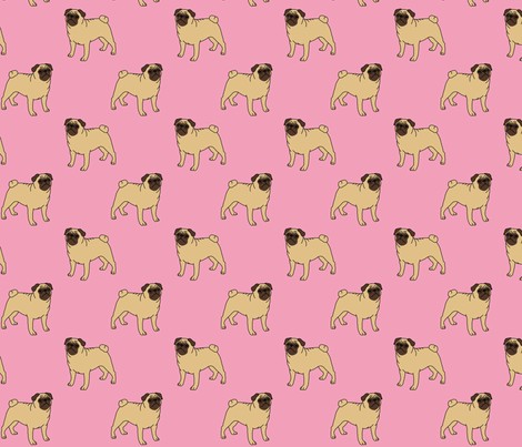 Pugs on pink fabric by darlingdearest on Spoonflower - custom fabric