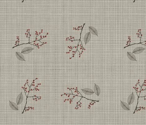 linen and berries fabric by glindabunny on Spoonflower - custom fabric