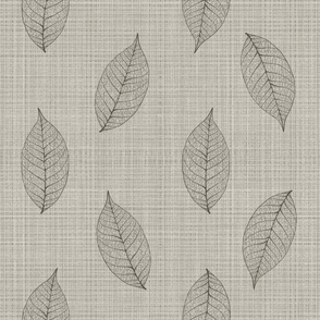 skeleton leaves on linen