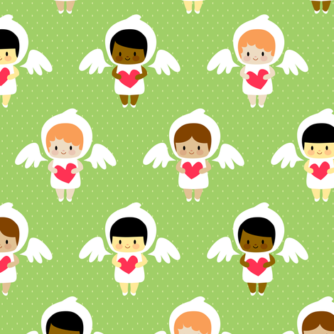 Kawaii angels (green) fabric by petitspixels on Spoonflower - custom fabric