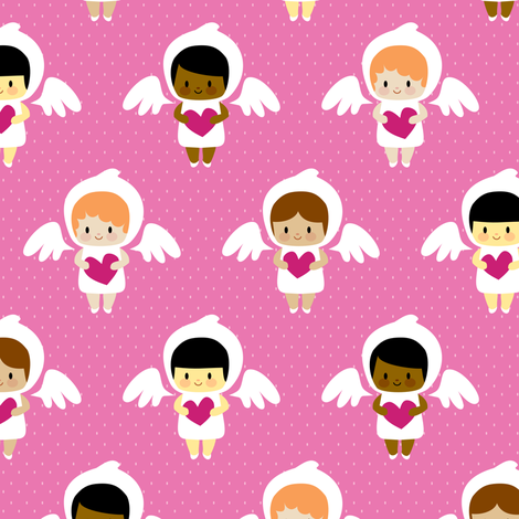 Kawaii angels (pink) fabric by petitspixels on Spoonflower - custom fabric