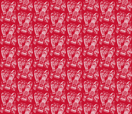 Tiki Holiday santa red fabric by sophista-tiki on Spoonflower - custom fabric