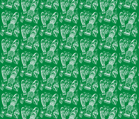 Tiki Holiday Evergreen fabric by sophista-tiki_by_dawn_frasier on Spoonflower - custom fabric