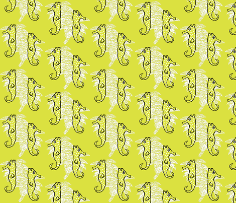 Seahorse Key Lime Dance fabric by lulabelle on Spoonflower - custom fabric
