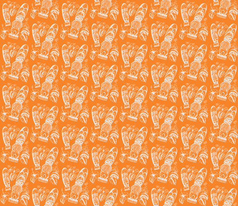 Tiki Holiday-orange fabric by sophista-tiki on Spoonflower - custom fabric